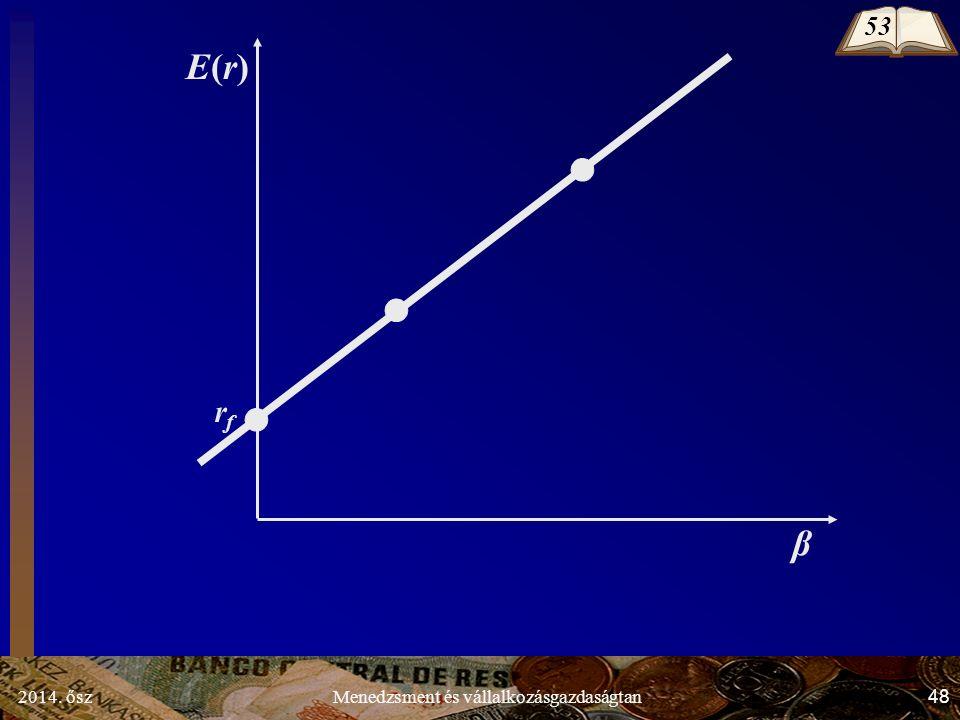 2014. ősz48Menedzsment és vállalkozásgazdaságtan E(r)E(r) rfrf β 53