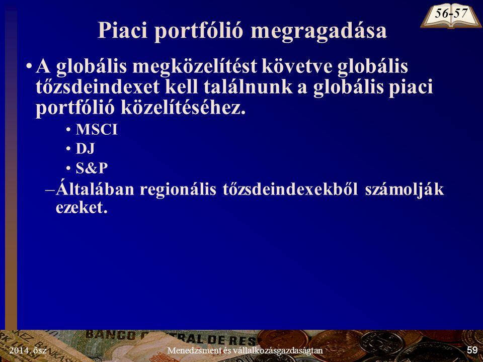 2014. ősz59Menedzsment és vállalkozásgazdaságtan Piaci portfólió megragadása A globális megközelítést követve globális tőzsdeindexet kell találnunk a