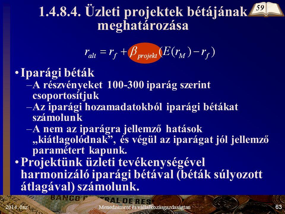 2014. ősz63Menedzsment és vállalkozásgazdaságtan 1.4.8.4.