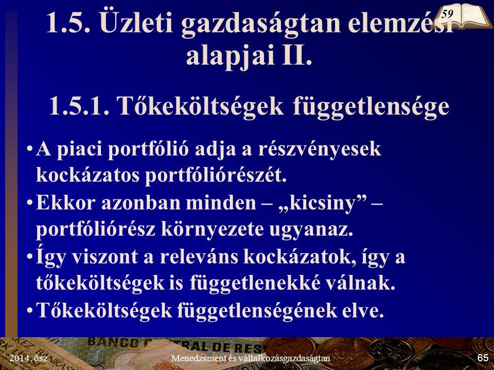 2014. ősz65Menedzsment és vállalkozásgazdaságtan 1.5. Üzleti gazdaságtan elemzési alapjai II. 1.5.1. Tőkeköltségek függetlensége A piaci portfólió adj