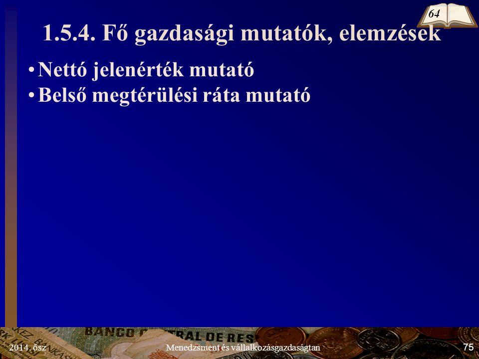 2014. ősz75Menedzsment és vállalkozásgazdaságtan 1.5.4.