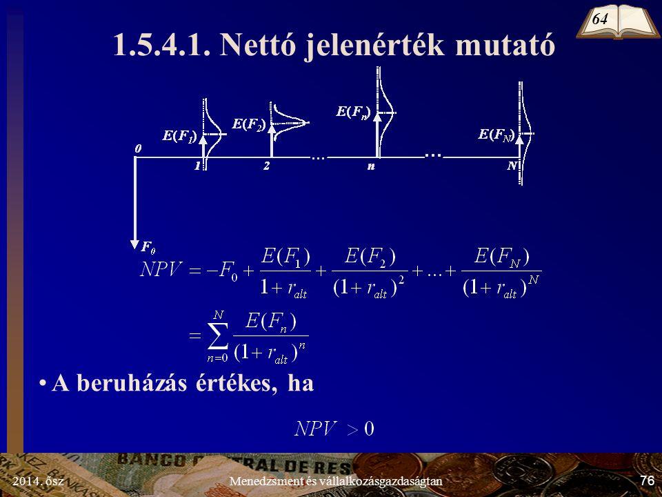 2014. ősz76Menedzsment és vállalkozásgazdaságtan 1.5.4.1.