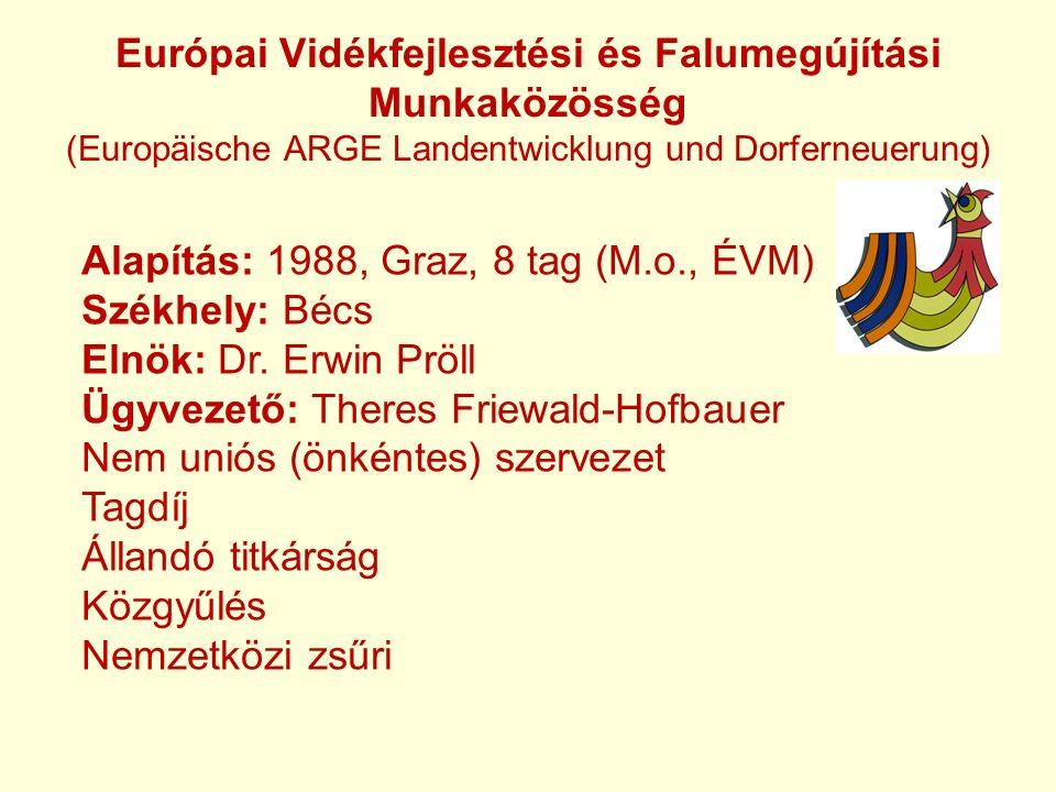 Európai Vidékfejlesztési és Falumegújítási Munkaközösség (Europäische ARGE Landentwicklung und Dorferneuerung) Alapítás: 1988, Graz, 8 tag (M.o., ÉVM) Székhely: Bécs Elnök: Dr.