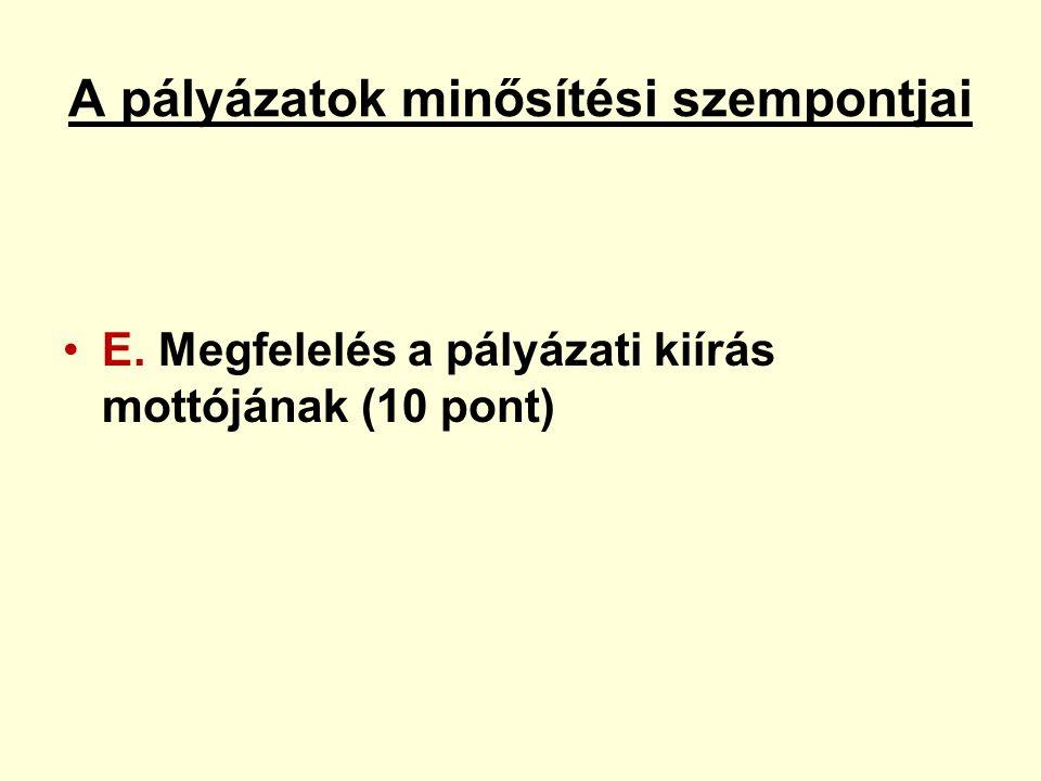 A pályázatok minősítési szempontjai E. Megfelelés a pályázati kiírás mottójának (10 pont)