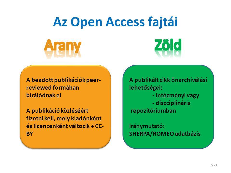 Az Open Access fajtái A beadott publikációk peer- reviewed formában bírálódnak el A publikáció közléséért fizetni kell, mely kiadónként és licencenként változik + CC- BY A beadott publikációk peer- reviewed formában bírálódnak el A publikáció közléséért fizetni kell, mely kiadónként és licencenként változik + CC- BY A publikált cikk önarchiválási lehetőségei: - intézményi vagy - diszciplináris repozitóriumban Iránymutató: SHERPA/ROMEO adatbázis 7/21
