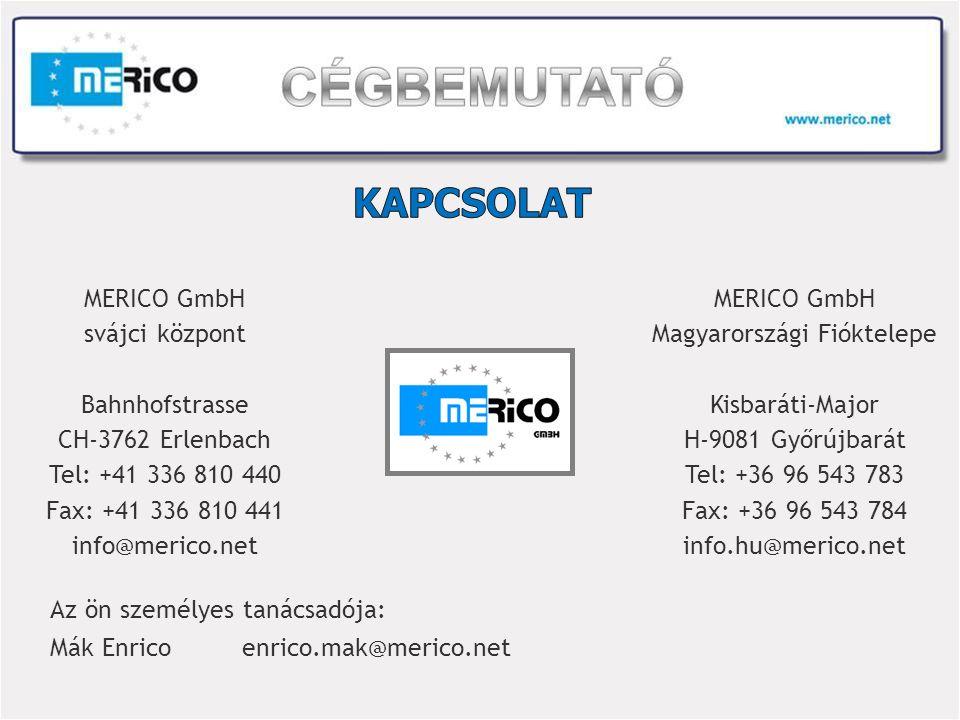 MERICO GmbH svájci központ Bahnhofstrasse CH-3762 Erlenbach Tel: +41 336 810 440 Fax: +41 336 810 441 info@merico.net MERICO GmbH Magyarországi Fióktelepe Kisbaráti-Major H-9081 Győrújbarát Tel: +36 96 543 783 Fax: +36 96 543 784 info.hu@merico.net Az ön személyes tanácsadója: Mák Enricoenrico.mak@merico.net