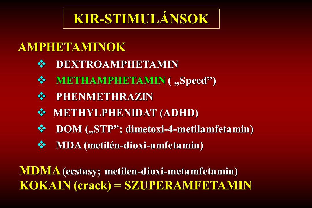 "AMPHETAMINOK  DEXTROAMPHETAMIN  METHAMPHETAMIN ( ""Speed )  PHENMETHRAZIN  METHYLPHENIDAT (ADHD)  DOM (""STP ; dimetoxi-4-metilamfetamin)  MDA (metilén-dioxi-amfetamin) KIR-STIMULÁNSOK MDMA (ecstasy; metilen-dioxi-metamfetamin) KOKAIN (crack) = SZUPERAMFETAMIN"