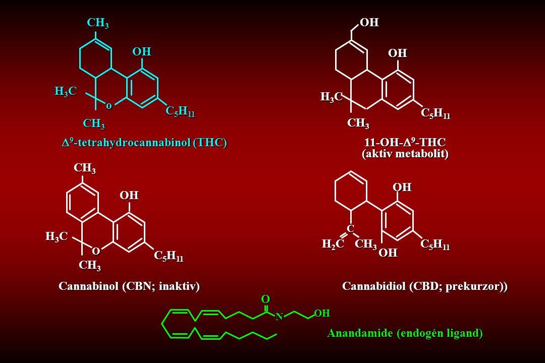 Cannabinol (CBN; inaktiv) 11-OH-  9 -THC (aktiv metabolit) Cannabidiol (CBD; prekurzor)) Anandamide (endogén ligand) NOOH CH 3 H2CH2CH2CH2C C 5 H 11 OH OH C  9 -tetrahydrocannabinol (THC) CH 3 H3CH3CH3CH3C C 5 H 11 o OHOH CH 3 H3CH3CH3CH3C C 5 H 11 OH CH 3 O H3CH3CH3CH3C C 5 H 11 OH