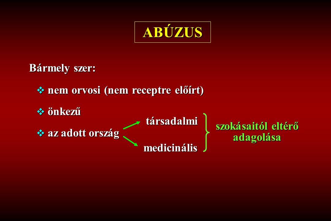 ABÚZUS Bármely szer:  nem orvosi (nem receptre előírt)  önkezű  az adott ország társadalmi medicinális szokásaitól eltérő adagolása
