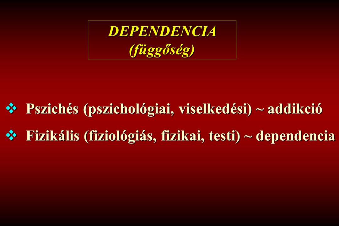 DEPENDENCIA (függőség)  Pszichés (pszichológiai, viselkedési) ~ addikció  Fizikális (fiziológiás, fizikai, testi) ~ dependencia
