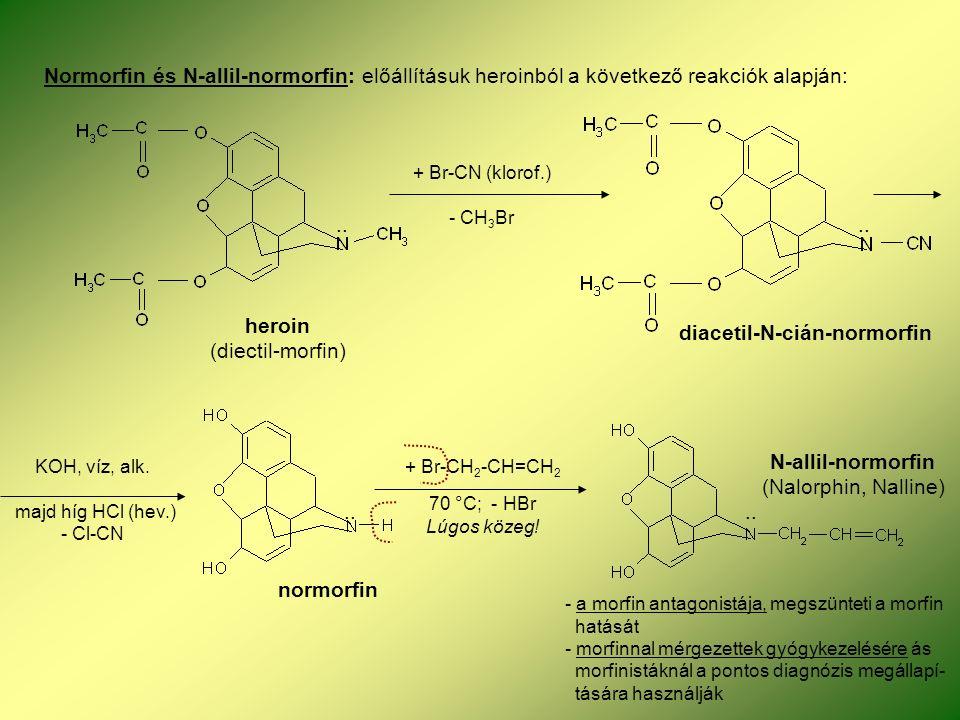 Normorfin és N-allil-normorfin: előállításuk heroinból a következő reakciók alapján: + Br-CN (klorof.) - CH 3 Br..