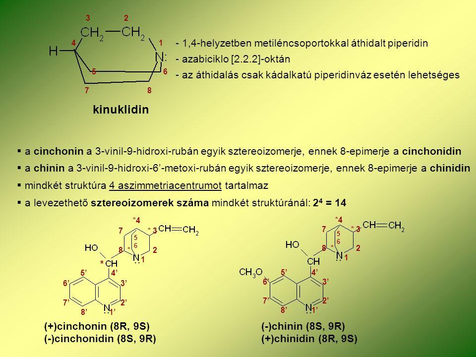 kinuklidin 3 2 4 1 5 6 7 8 : - 1,4-helyzetben metiléncsoportokkal áthidalt piperidin - azabiciklo [2.2.2]-oktán - az áthidalás csak kádalkatú piperidinváz esetén lehetséges  a cinchonin a 3-vinil-9-hidroxi-rubán egyik sztereoizomerje, ennek 8-epimerje a cinchonidin  a chinin a 3-vinil-9-hidroxi-6'-metoxi-rubán egyik sztereoizomerje, ennek 8-epimerje a chinidin  mindkét struktúra 4 aszimmetriacentrumot tartalmaz  a levezethető sztereoizomerek száma mindkét struktúránál: 2 4 = 14..