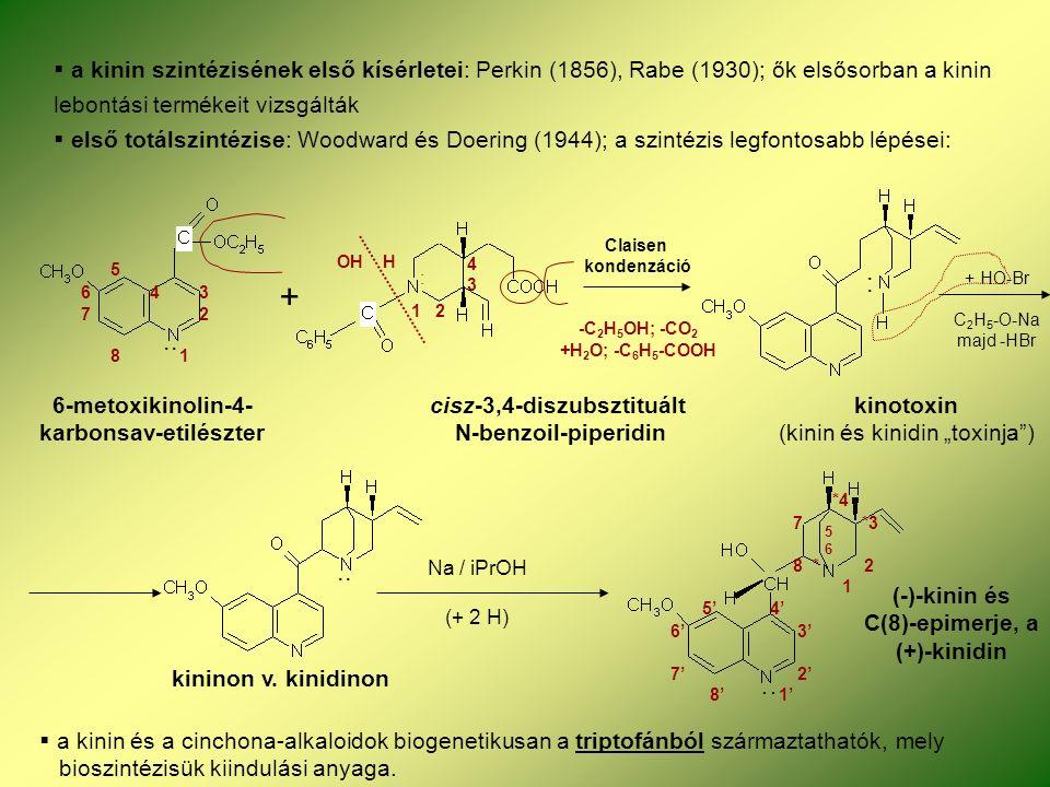 """ a kinin szintézisének első kísérletei: Perkin (1856), Rabe (1930); ők elsősorban a kinin lebontási termékeit vizsgálták  első totálszintézise: Woodward és Doering (1944); a szintézis legfontosabb lépései: 6-metoxikinolin-4- cisz-3,4-diszubsztituált kinotoxin karbonsav-etilészter N-benzoil-piperidin (kinin és kinidin """"toxinja ) + Claisen kondenzáció -C 2 H 5 OH; -CO 2 +H 2 O; -C 6 H 5 -COOH + HO-Br C 2 H 5 -O-Na majd -HBr : :.."""