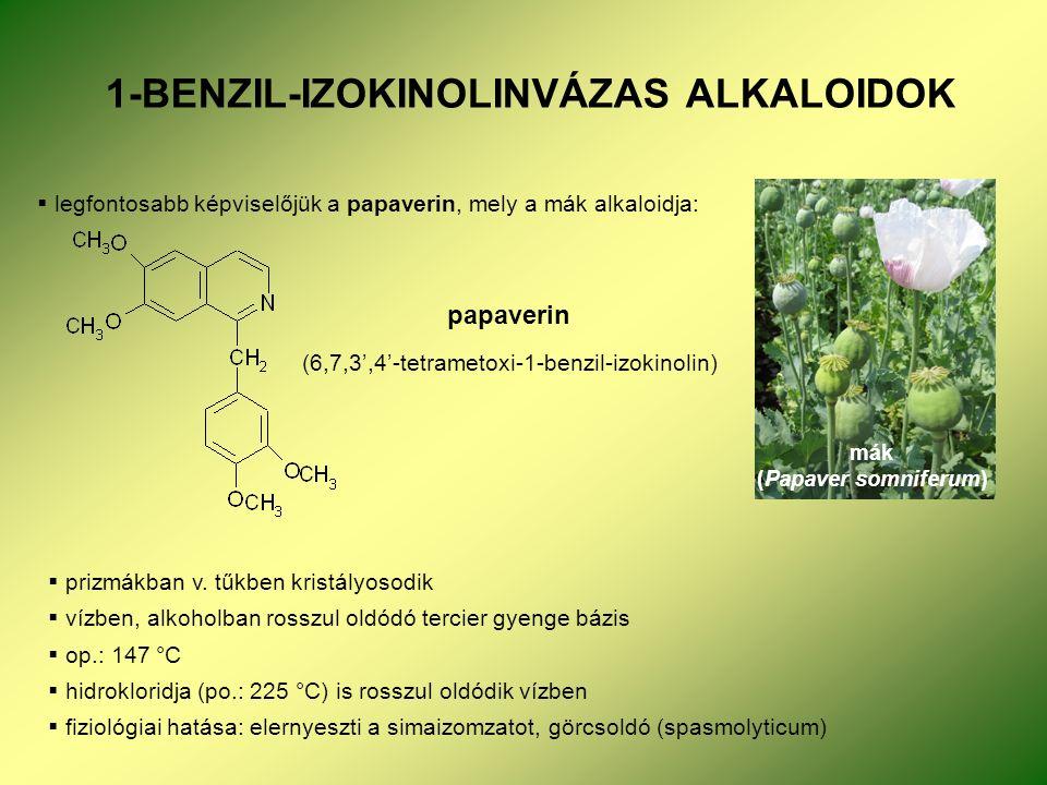 1-BENZIL-IZOKINOLINVÁZAS ALKALOIDOK  legfontosabb képviselőjük a papaverin, mely a mák alkaloidja: mák (Papaver somniferum) papaverin (6,7,3',4'-tetrametoxi-1-benzil-izokinolin)  prizmákban v.