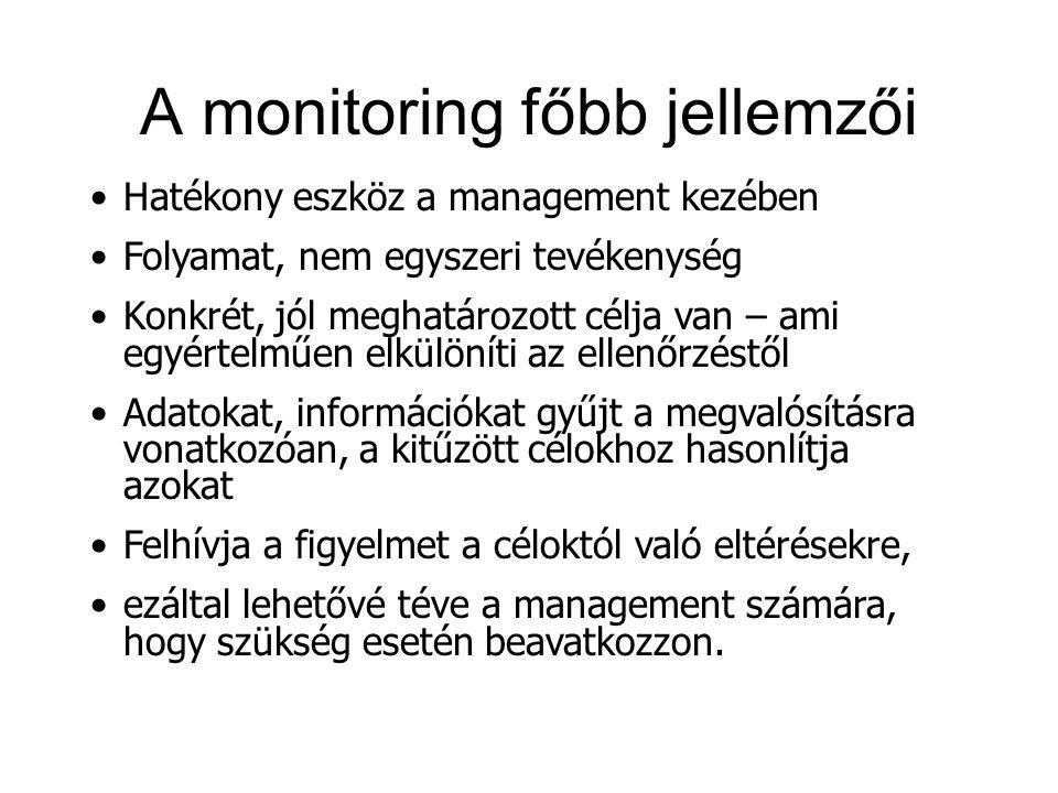 A monitoring főbb jellemzői Hatékony eszköz a management kezében Folyamat, nem egyszeri tevékenység Konkrét, jól meghatározott célja van – ami egyértelműen elkülöníti az ellenőrzéstől Adatokat, információkat gyűjt a megvalósításra vonatkozóan, a kitűzött célokhoz hasonlítja azokat Felhívja a figyelmet a céloktól való eltérésekre, ezáltal lehetővé téve a management számára, hogy szükség esetén beavatkozzon.