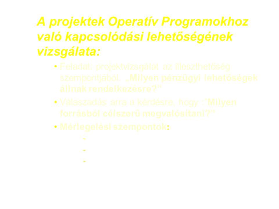 A projektek Operatív Programokhoz való kapcsolódási lehetőségének vizsgálata: Feladat: projektvizsgálat az illeszthetőség szempontjából.