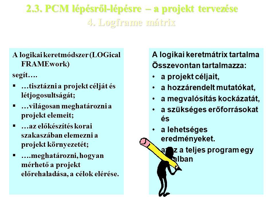 4. Logframe mátrix A logikai keretmódszer (LOGical FRAMEwork) segít….