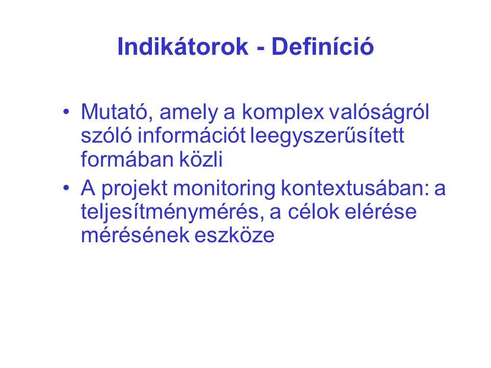 Indikátorok - Definíció Mutató, amely a komplex valóságról szóló információt leegyszerűsített formában közli A projekt monitoring kontextusában: a teljesítménymérés, a célok elérése mérésének eszköze