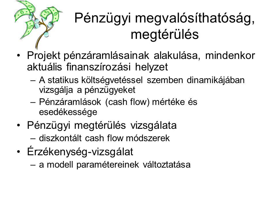 Pénzügyi megvalósíthatóság, megtérülés Projekt pénzáramlásainak alakulása, mindenkor aktuális finanszírozási helyzet –A statikus költségvetéssel szemben dinamikájában vizsgálja a pénzügyeket –Pénzáramlások (cash flow) mértéke és esedékessége Pénzügyi megtérülés vizsgálata –diszkontált cash flow módszerek Érzékenység-vizsgálat –a modell paramétereinek változtatása