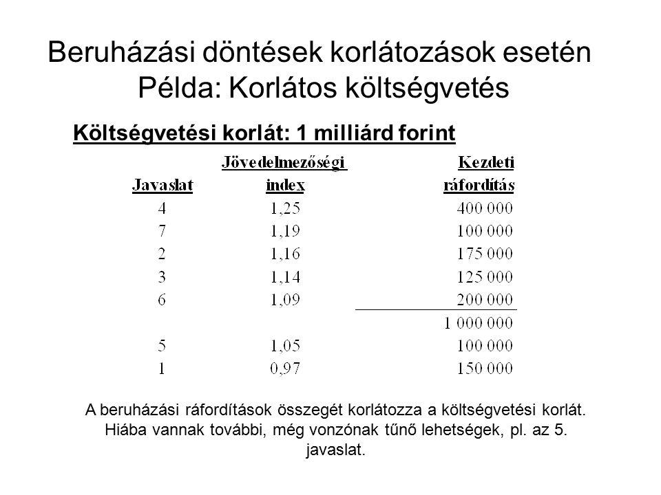 Beruházási döntések korlátozások esetén Példa: Korlátos költségvetés Költségvetési korlát: 1 milliárd forint A beruházási ráfordítások összegét korlátozza a költségvetési korlát.