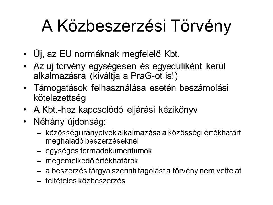 A Közbeszerzési Törvény Új, az EU normáknak megfelelő Kbt.