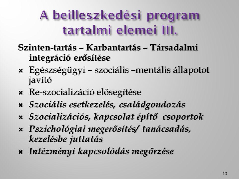 Szinten-tartás – Karbantartás – Társadalmi integráció erősítése  Egészségügyi – szociális –mentális állapotot javító  Re-szocializáció elősegítése  Szociális esetkezelés, családgondozás  Szocializációs, kapcsolat építő csoportok  Pszichológiai megerősítés/ tanácsadás, kezelésbe juttatás  Intézményi kapcsolódás megőrzése 13