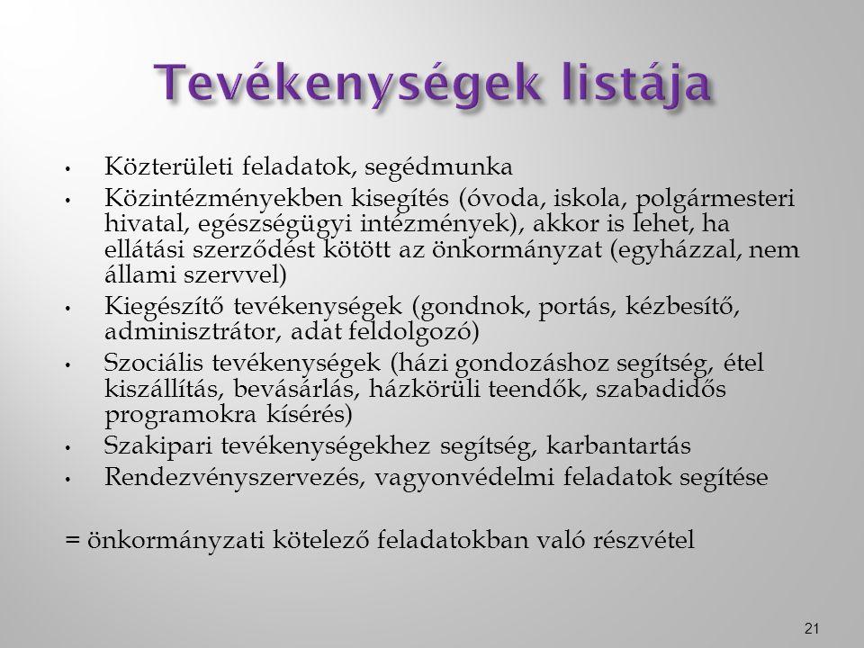Közterületi feladatok, segédmunka Közintézményekben kisegítés (óvoda, iskola, polgármesteri hivatal, egészségügyi intézmények), akkor is lehet, ha ellátási szerződést kötött az önkormányzat (egyházzal, nem állami szervvel) Kiegészítő tevékenységek (gondnok, portás, kézbesítő, adminisztrátor, adat feldolgozó) Szociális tevékenységek (házi gondozáshoz segítség, étel kiszállítás, bevásárlás, házkörüli teendők, szabadidős programokra kísérés) Szakipari tevékenységekhez segítség, karbantartás Rendezvényszervezés, vagyonvédelmi feladatok segítése = önkormányzati kötelező feladatokban való részvétel 21