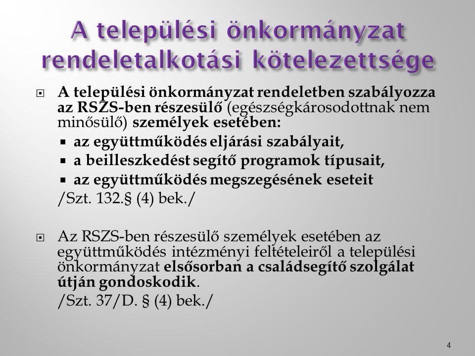  A települési önkormányzat rendeletben szabályozza az RSZS-ben részesülő (egészségkárosodottnak nem minősülő) személyek esetében:  az együttműködés eljárási szabályait,  a beilleszkedést segítő programok típusait,  az együttműködés megszegésének eseteit /Szt.