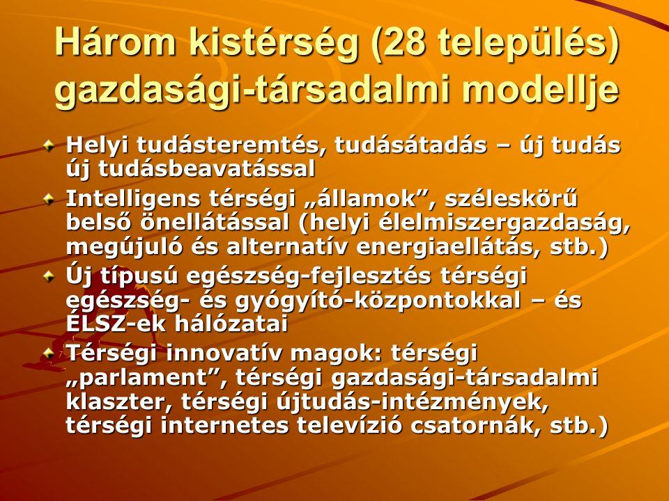 """Három kistérség (28 település) gazdasági-társadalmi modellje Helyi tudásteremtés, tudásátadás – új tudás új tudásbeavatással Intelligens térségi """"államok , széleskörű belső önellátással (helyi élelmiszergazdaság, megújuló és alternatív energiaellátás, stb.) Új típusú egészség-fejlesztés térségi egészség- és gyógyító-központokkal – és ÉLSZ-ek hálózatai Térségi innovatív magok: térségi """"parlament , térségi gazdasági-társadalmi klaszter, térségi újtudás-intézmények, térségi internetes televízió csatornák, stb.)"""
