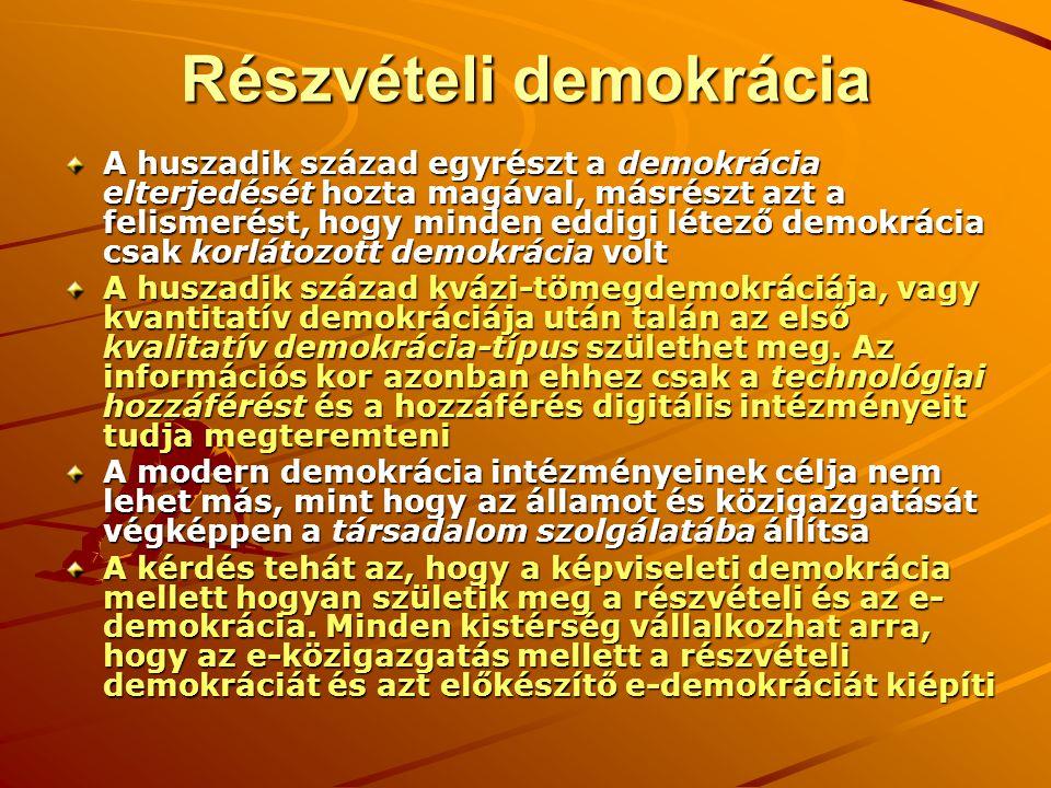 Részvételi demokrácia A huszadik század egyrészt a demokrácia elterjedését hozta magával, másrészt azt a felismerést, hogy minden eddigi létező demokrácia csak korlátozott demokrácia volt A huszadik század kvázi-tömegdemokráciája, vagy kvantitatív demokráciája után talán az első kvalitatív demokrácia-típus születhet meg.