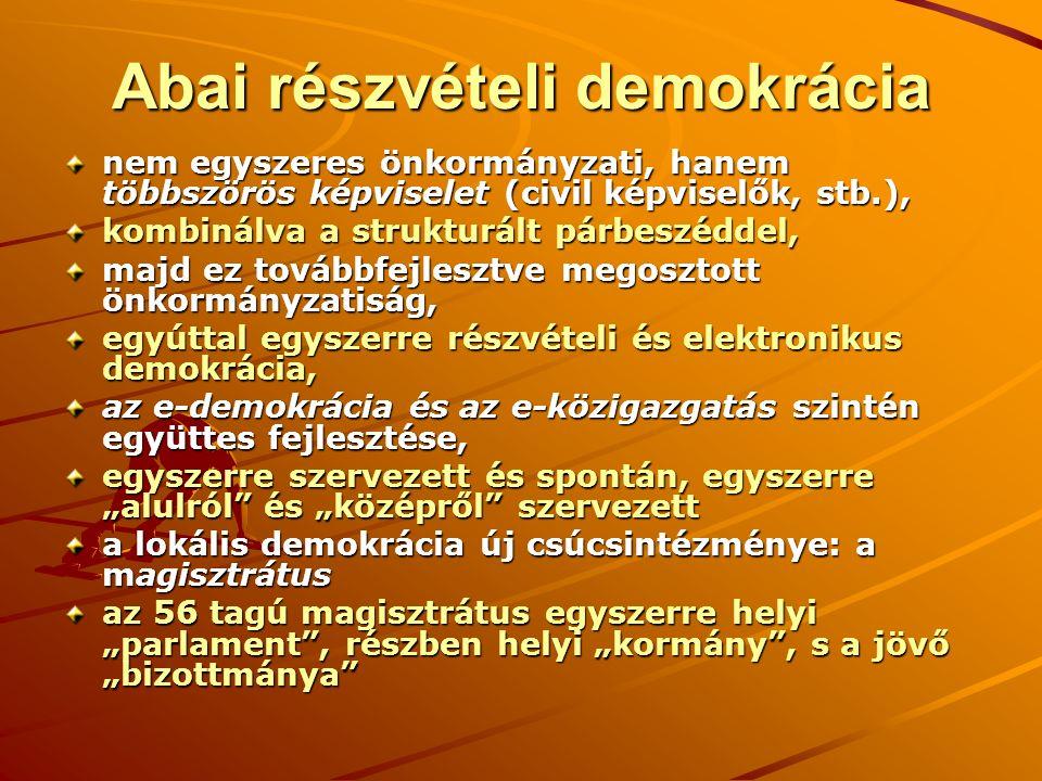 Abai részvételi demokrácia nem egyszeres önkormányzati, hanem többszörös képviselet (civil képviselők, stb.), kombinálva a strukturált párbeszéddel, m