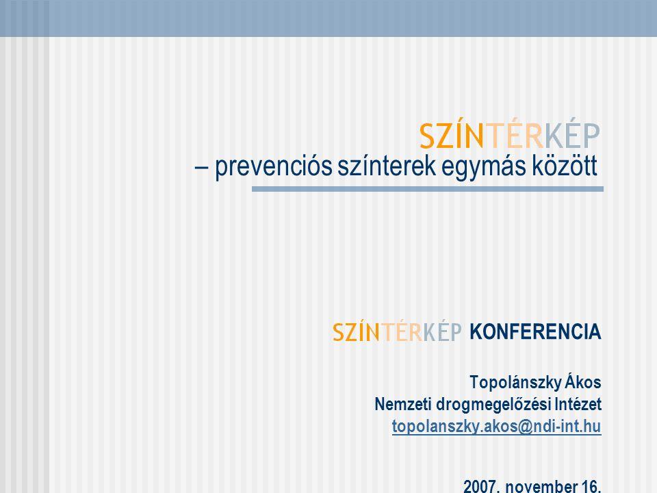 KONFERENCIA Topolánszky Ákos Nemzeti drogmegelőzési Intézet topolanszky.akos@ndi-int.hu 2007. november 16. – prevenciós színterek egymás között