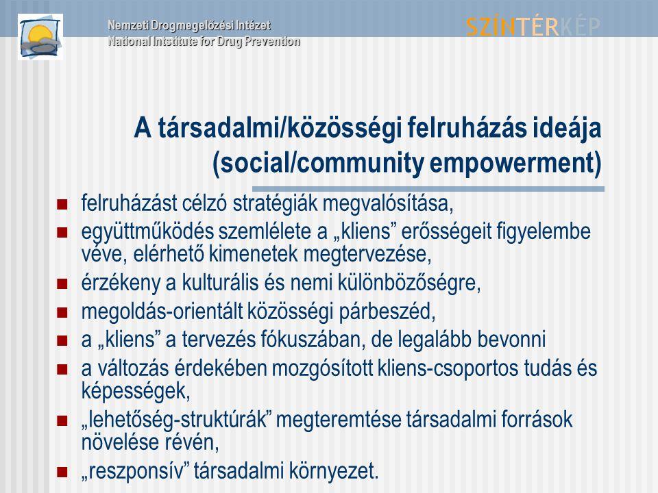 """A társadalmi/közösségi felruházás ideája (social/community empowerment) felruházást célzó stratégiák megvalósítása, együttműködés szemlélete a """"kliens"""
