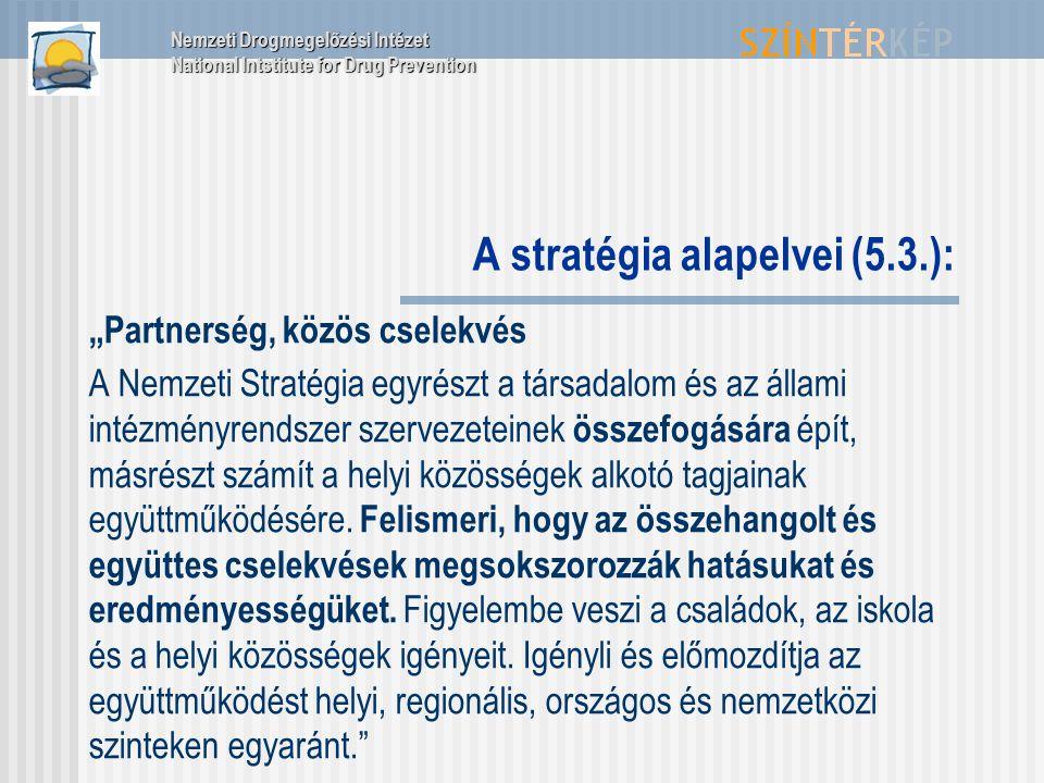 """A stratégia alapelvei (5.3.): """"Partnerség, közös cselekvés A Nemzeti Stratégia egyrészt a társadalom és az állami intézményrendszer szervezeteinek összefogására épít, másrészt számít a helyi közösségek alkotó tagjainak együttműködésére."""