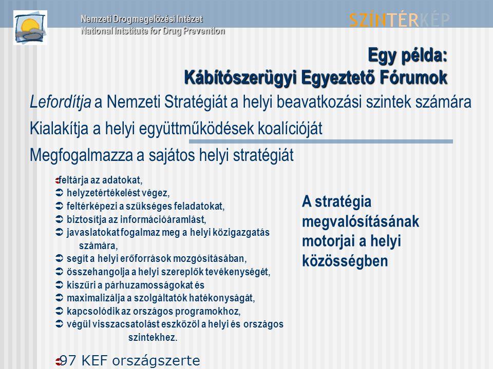 Egy példa: Kábítószerügyi Egyeztető Fórumok Lefordítja a Nemzeti Stratégiát a helyi beavatkozási szintek számára Kialakítja a helyi együttműködések ko