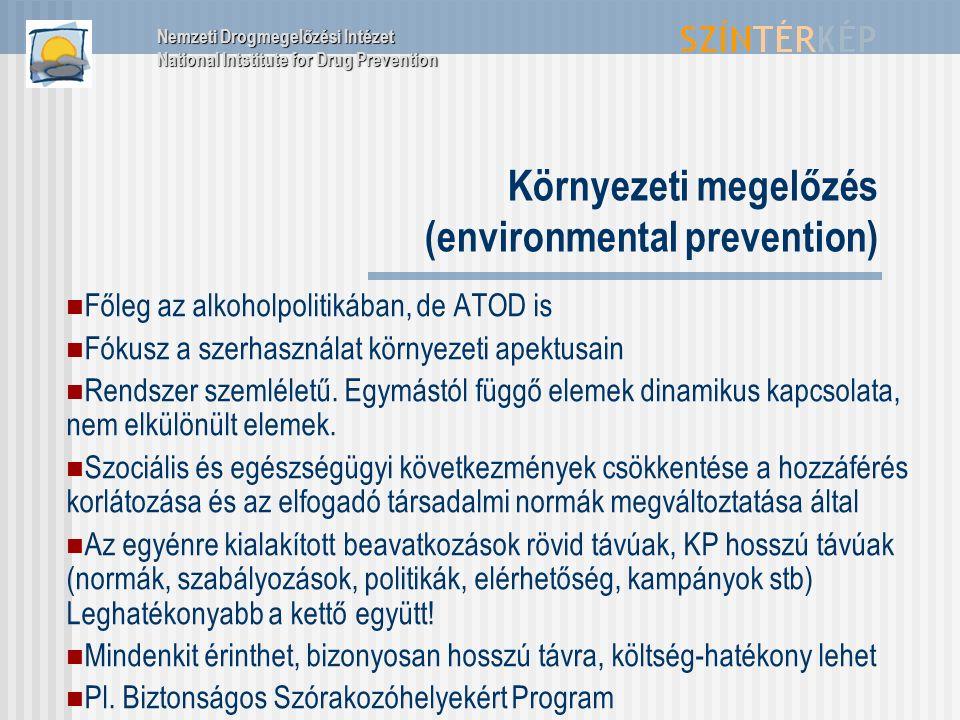 Környezeti megelőzés (environmental prevention) Főleg az alkoholpolitikában, de ATOD is Fókusz a szerhasználat környezeti apektusain Rendszer szemléletű.