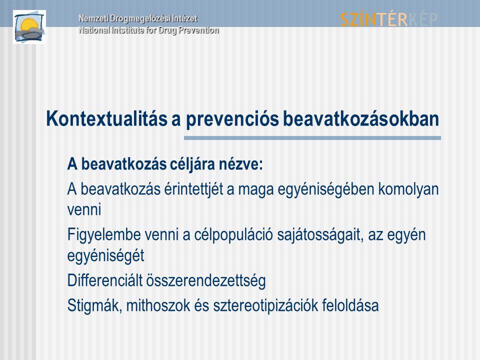 Kontextualitás a prevenciós beavatkozásokban A beavatkozás céljára nézve: A beavatkozás érintettjét a maga egyéniségében komolyan venni Figyelembe venni a célpopuláció sajátosságait, az egyén egyéniségét Differenciált összerendezettség Stigmák, mithoszok és sztereotipizációk feloldása Nemzeti Drogmegelőzési Intézet National Intstitute for Drug Prevention