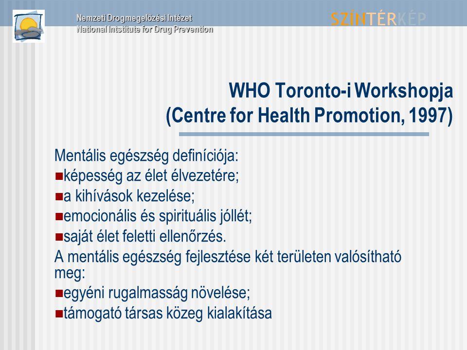 WHO Toronto-i Workshopja (Centre for Health Promotion, 1997) Mentális egészség definíciója: képesség az élet élvezetére; a kihívások kezelése; emocion