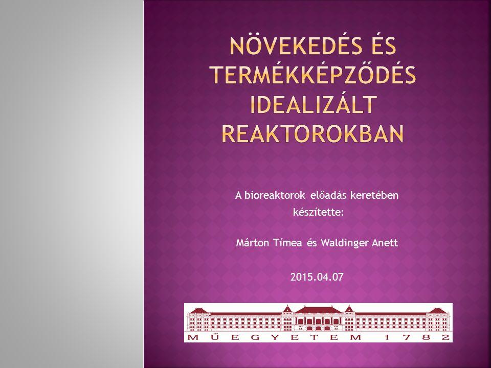 A bioreaktorok előadás keretében készítette: Márton Tímea és Waldinger Anett 2015.04.07