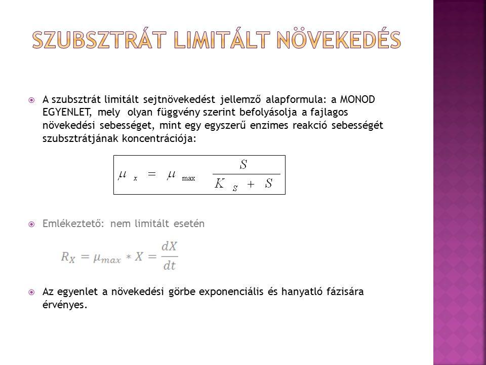  A szubsztrát limitált sejtnövekedést jellemző alapformula: a MONOD EGYENLET, mely olyan függvény szerint befolyásolja a fajlagos növekedési sebességet, mint egy egyszerű enzimes reakció sebességét szubsztrátjának koncentrációja:  Emlékeztető: nem limitált esetén  Az egyenlet a növekedési görbe exponenciális és hanyatló fázisára érvényes.