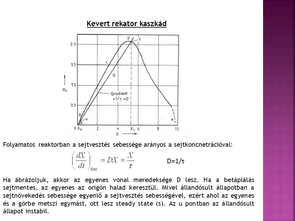 Kevert rekator kaszkád Folyamatos reaktorban a sejtvesztés sebessége arányos a sejtkoncnetrációval: D=1/τ Ha ábrázoljuk, akkor az egyenes vonal meredeksége D lesz.