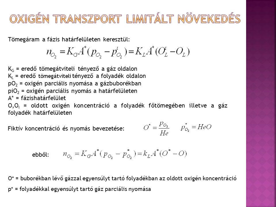 Tömegáram a fázis határfelületen keresztül: K G = eredő tömegátviteli tényező a gáz oldalon K L = eredő tömegátviteli tényező a folyadék oldalon pO 2 = oxigén parciális nyomása a gázbuborékban piO 2 = oxigén parciális nyomás a határfelületen A* = fázishatárfelület O,O i = oldott oxigén koncentráció a folyadék főtömegében illetve a gáz folyadék határfelületen Fiktív koncentráció és nyomás bevezetése: ebből : O  = buborékban lévő gázzal egyensúlyt tartó folyadékban az oldott oxigén koncentráció p  = folyadékkal egyensúlyt tartó gáz parciális nyomása