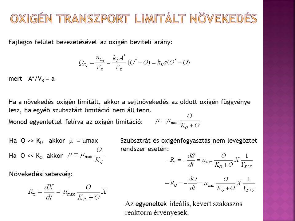 Fajlagos felület bevezetésével az oxigén beviteli arány: mert A*/V R = a Ha a növekedés oxigén limitált, akkor a sejtnövekedés az oldott oxigén függvénye lesz, ha egyéb szubsztárt limitáció nem áll fenn.