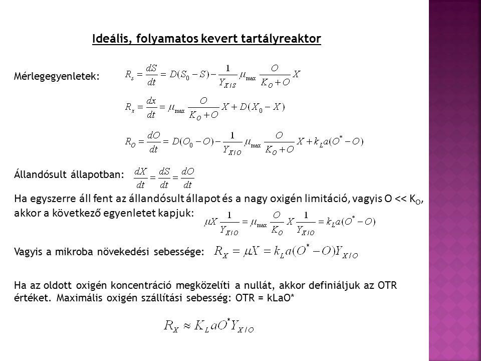 Ideális, folyamatos kevert tartályreaktor Mérlegegyenletek: Állandósult állapotban: Ha egyszerre áll fent az állandósult állapot és a nagy oxigén limitáció, vagyis O << K O, akkor a következő egyenletet kapjuk: Vagyis a mikroba növekedési sebessége: Ha az oldott oxigén koncentráció megközelíti a nullát, akkor definiáljuk az OTR értéket.