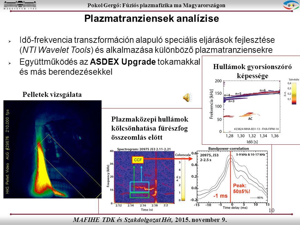  Idő-frekvencia transzformáción alapuló speciális eljárások fejlesztése (NTI Wavelet Tools) és alkalmazása különböző plazmatranziensekre  Együttműködés az ASDEX Upgrade tokamakkal és más berendezésekkel 10 Pokol Gergő: Fúziós plazmafizika ma Magyarországon MAFIHE TDK és Szakdolgozat Hét, 2015.