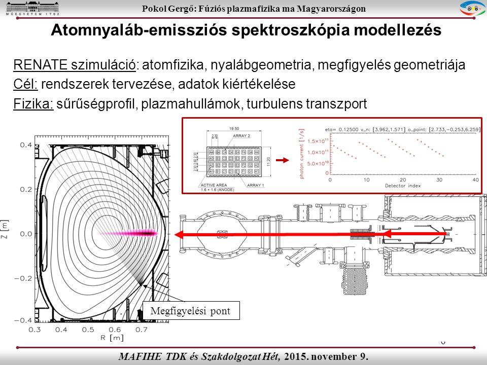 RENATE szimuláció: atomfizika, nyalábgeometria, megfigyelés geometriája Cél: rendszerek tervezése, adatok kiértékelése Fizika: sűrűségprofil, plazmahullámok, turbulens transzport 6 Pokol Gergő: Fúziós plazmafizika ma Magyarországon MAFIHE TDK és Szakdolgozat Hét, 2015.