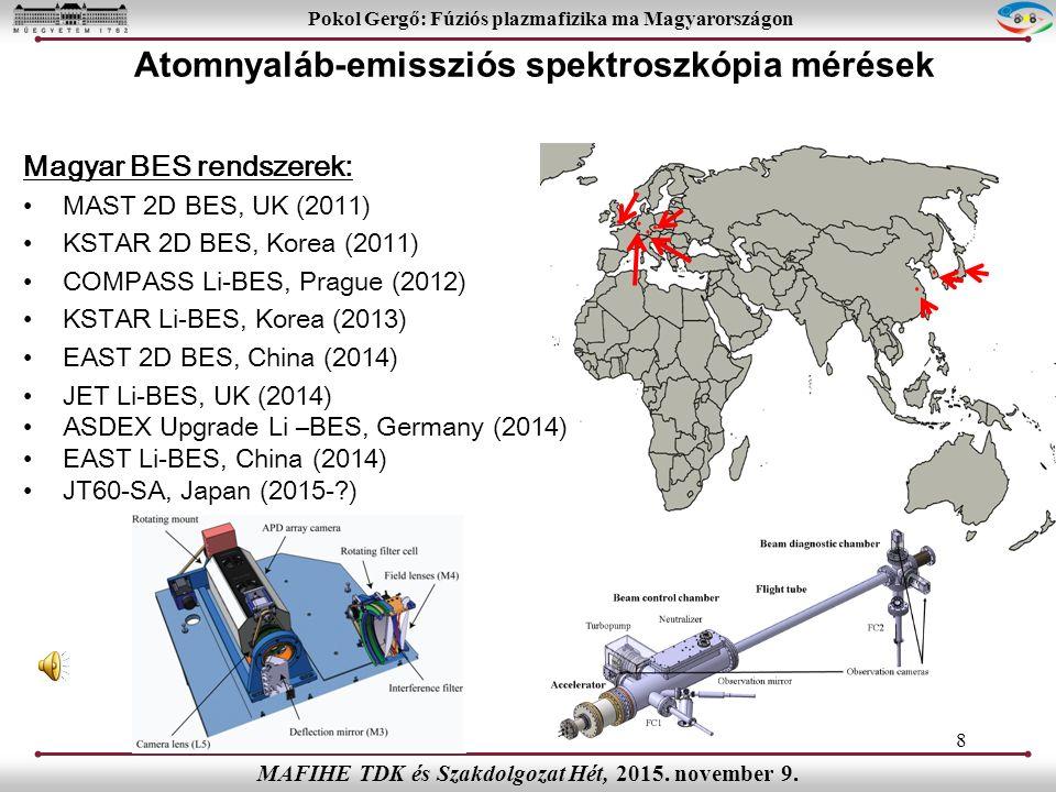 8 Pokol Gergő: Fúziós plazmafizika ma Magyarországon MAFIHE TDK és Szakdolgozat Hét, 2015.