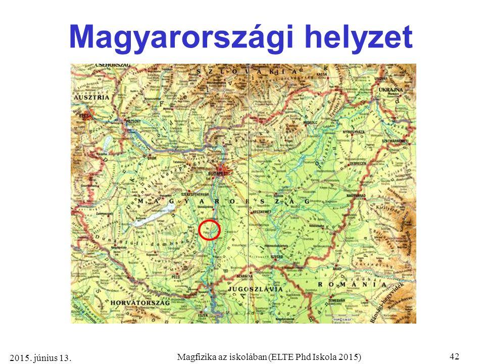 42 Magfizika az iskolában (ELTE Phd Iskola 2015) 2015. június 13. Magyarországi helyzet