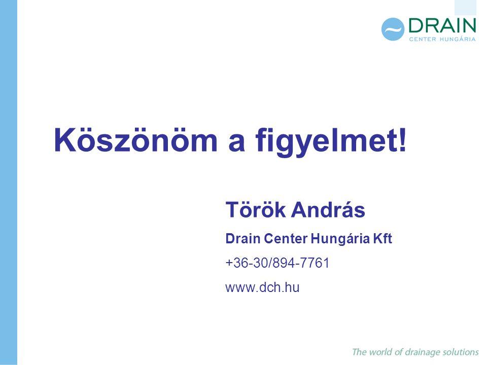 Köszönöm a figyelmet! Török András Drain Center Hungária Kft +36-30/894-7761 www.dch.hu
