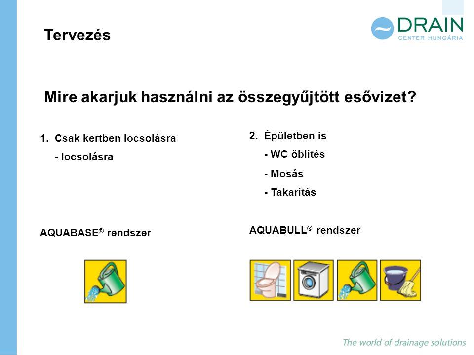 Mire akarjuk használni az összegyűjtött esővizet? Tervezés 1. Csak kertben locsolásra - locsolásra AQUABASE ® rendszer 2. Épületben is - WC öblítés -